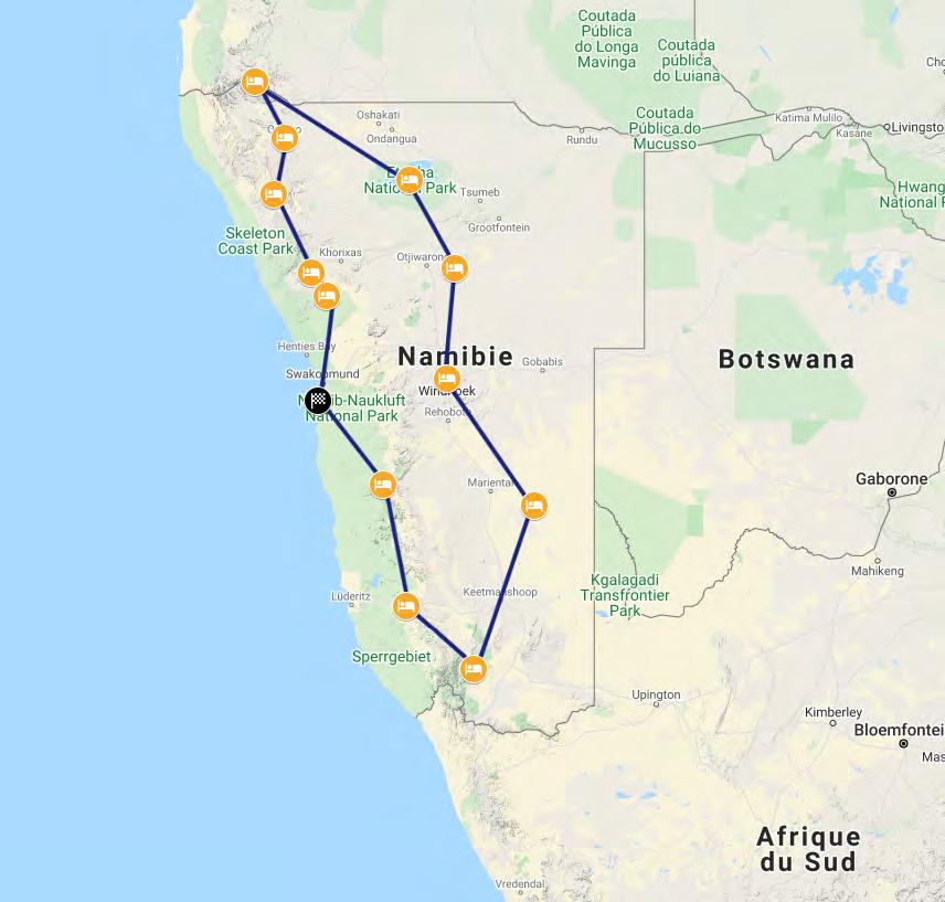 voyage moto en Namibie avec Monsieur Pingouin itinéraire